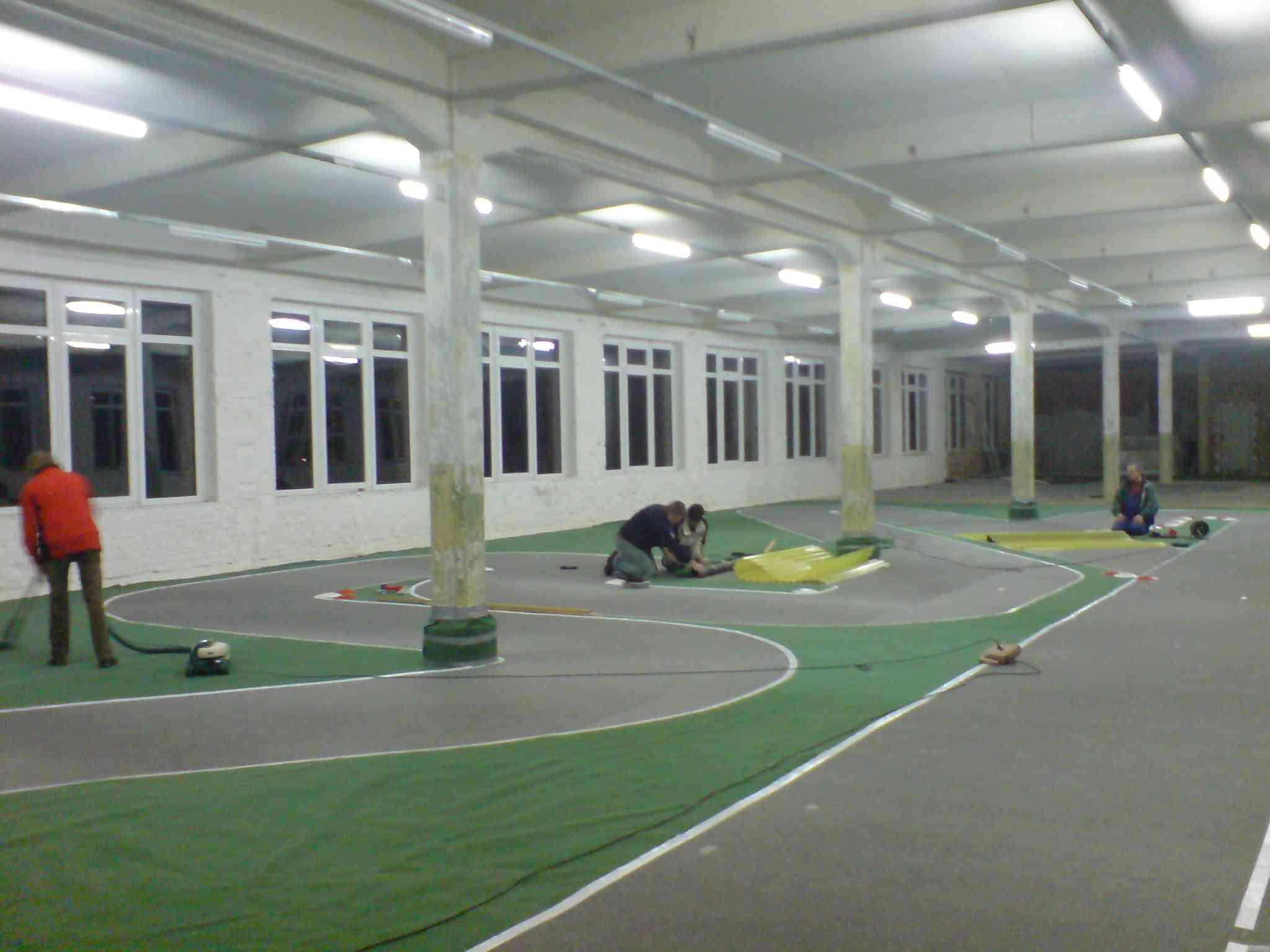 Bau der Hallenstrecke